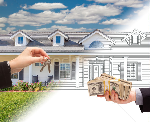 Handing Keys to Man with Stacks of Money In Front Of House Drawi Stock photo © feverpitch