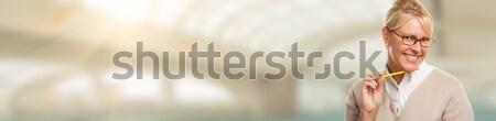 ストックフォト: バナー · 美しい · 表現の · 学生 · 女性実業家 · ペン