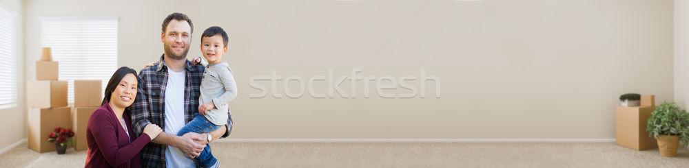 Banner chino caucásico padres nino Foto stock © feverpitch