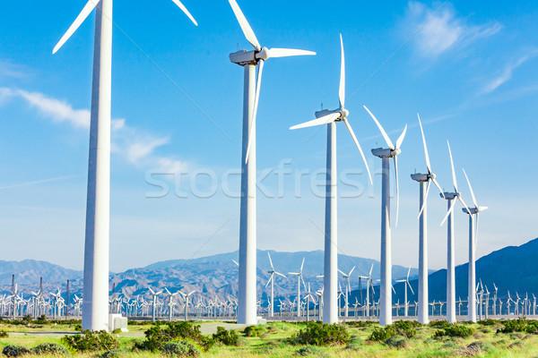 Foto stock: Dramático · turbina · eólica · fazenda · deserto · Califórnia · paisagem
