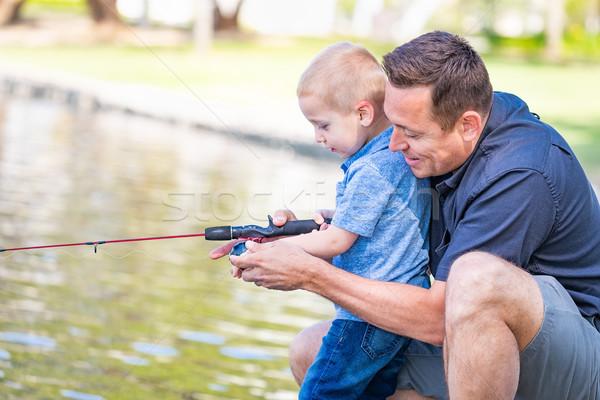 Jonge kaukasisch vader zoon vissen meer Stockfoto © feverpitch