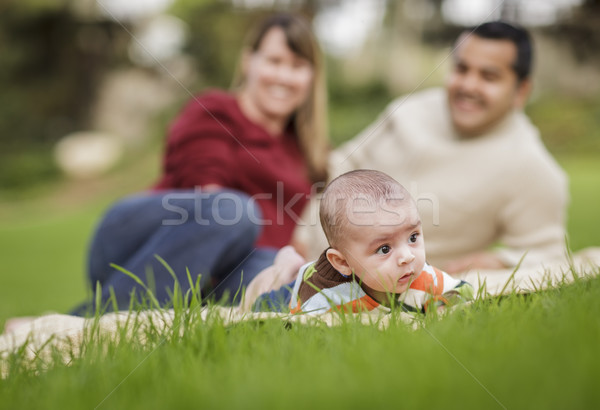 Stock photo: Happy Mixed Race Baby Boy and Parents Playing in Park
