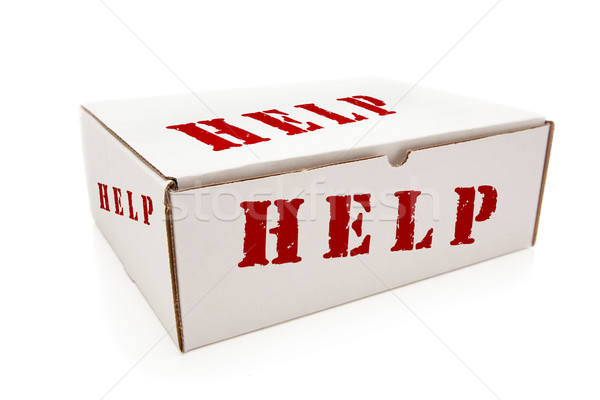Stock photo: White Box with Help on Sides Isolated