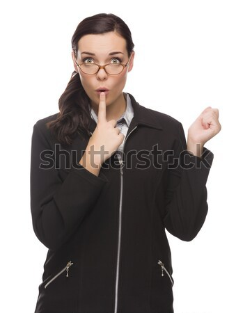 Unsure Mixed Race Businesswoman Puts Finger on Her Lips Stock photo © feverpitch
