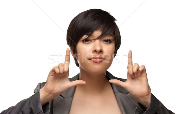 Stock fotó: Csinos · több · nemzetiségű · fiatal · felnőtt · nő · arc · kezek