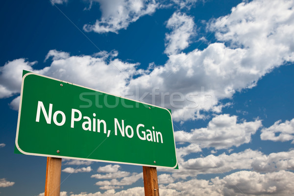 No Pain, No Gain Green Road Sign Stock photo © feverpitch