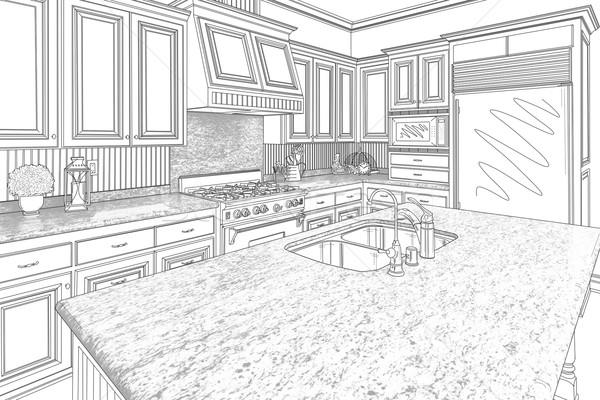 Black Custom Kitchen Design Drawing on White Stock photo © feverpitch