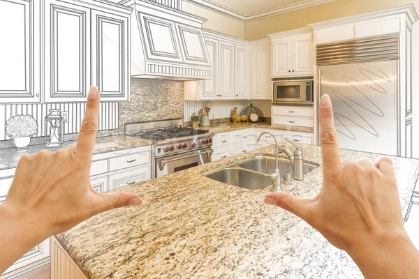 手 カスタム キッチン デザイン 図面 写真 ストックフォト © feverpitch