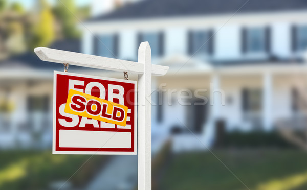 Sold Home For Sale Real Estate Sign in Front of Beautiful New Ho Stock photo © feverpitch