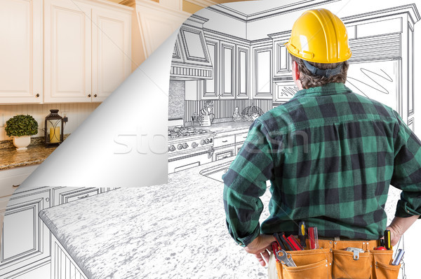 Contractor Facing Kitchen Drawing with Page Corner Flipping to C Stock photo © feverpitch