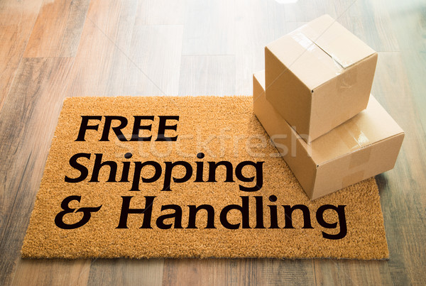 Free Shipping and Handling Welcome Mat On Wood Floor With Shipme Stock photo © feverpitch
