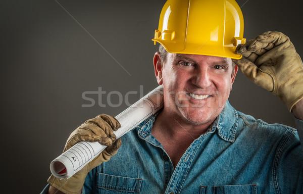 Mosolyog beszállító védősisak tart padló tervek Stock fotó © feverpitch