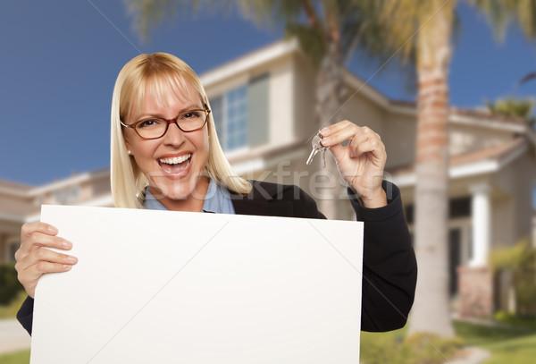 ストックフォト: 興奮した · 女性 · 家 · キー · 不動産