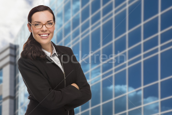 Confident Attractive Mixed Race Woman in Front of Corporate Buil Stock photo © feverpitch