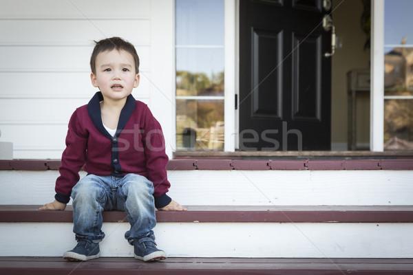 Melankoli erkek oturma sundurma Stok fotoğraf © feverpitch
