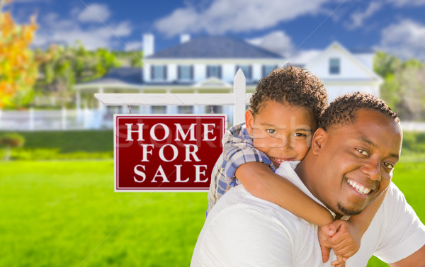отцом сына продажи знак дома счастливым Сток-фото © feverpitch
