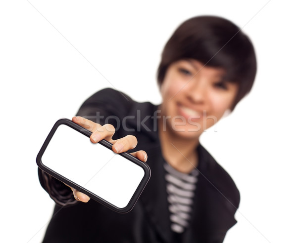 Smiling Young Mixed Race Woman Holding Blank Smart Phone Stock photo © feverpitch