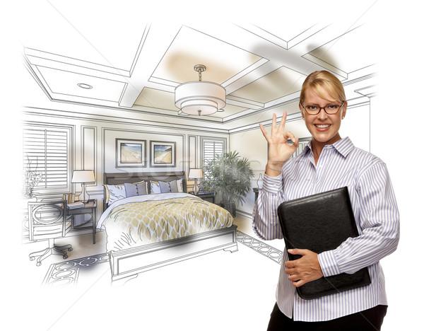 女性 オーケー にログイン カスタム ベッド 図面 ストックフォト © feverpitch