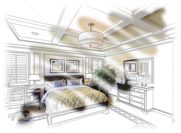 Vám hálószoba terv rajz fotó kombináció Stock fotó © feverpitch