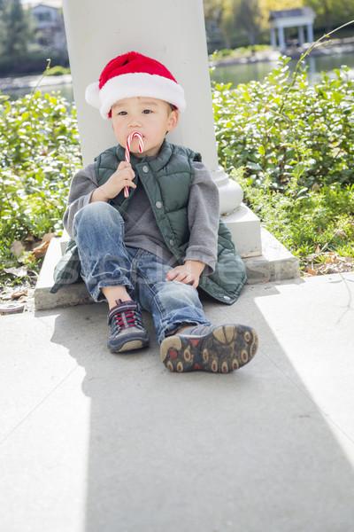 Сток-фото: Cute · мальчика · Hat · конфеты