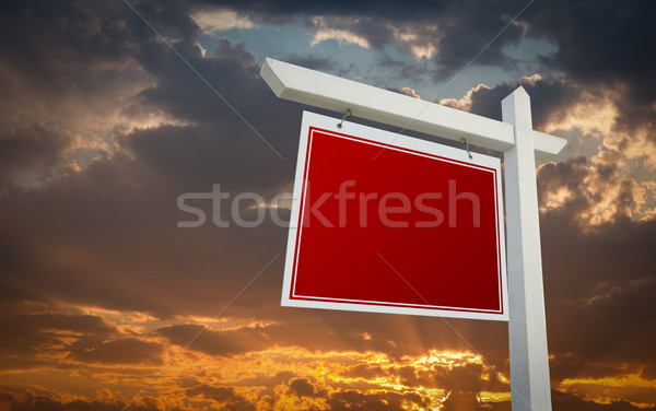 Stock fotó: Piros · ingatlan · felirat · naplemente · égbolt · kész