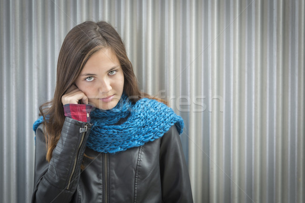 Portrait of Young Pretty Blue Eyed Girl Stock photo © feverpitch