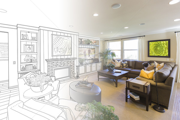 Living Room Drawing Gradation Into Photograph Stock photo © feverpitch