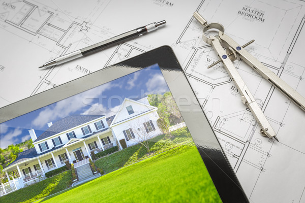Computer Tablet Showing House Image On House Plans, Pencil, Comp Stock photo © feverpitch