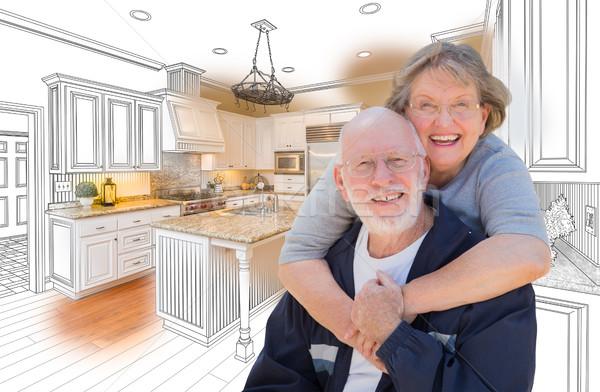 Couple de personnes âgées coutume cuisine design dessin photo Photo stock © feverpitch