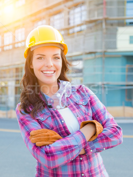 Stock photo: Portrait of Young Female Construction Worker Wearing Gloves, Har