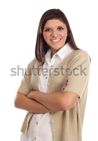 Pretty Smiling Ethnic Female Portrait on White Stock photo © feverpitch