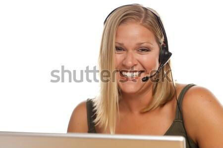 Gyönyörű barátságos ügyfélszolgálat lány számítógép női Stock fotó © feverpitch