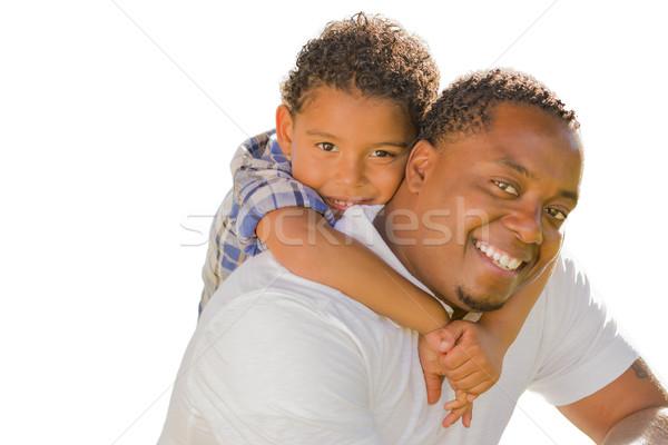 Métis père en fils jouer ferroutage blanche heureux Photo stock © feverpitch
