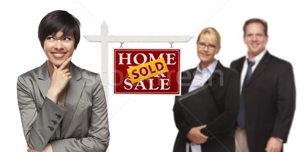 Félvér emberek eladva ingatlan felirat izolált Stock fotó © feverpitch