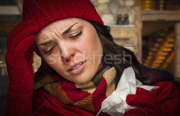 Sick Woman Inside Cabin With Tissue Stock photo © feverpitch