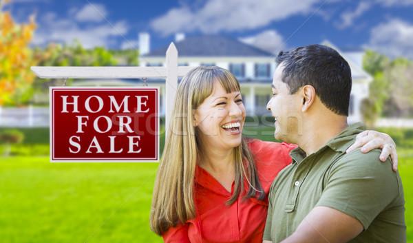 çift satış imzalamak ev mutlu gayrimenkul Stok fotoğraf © feverpitch
