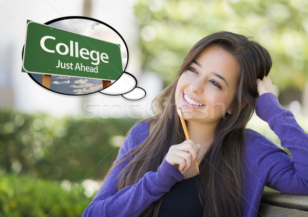 Stock photo: Young Woman with Thought Bubble of College Green Road Sign