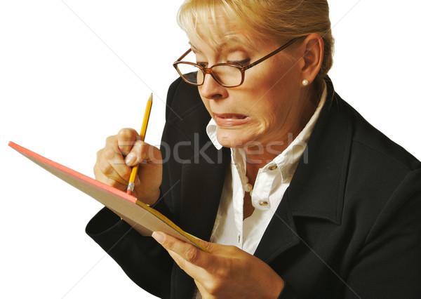 Femminile errore notepad bianco donna studente Foto d'archivio © feverpitch