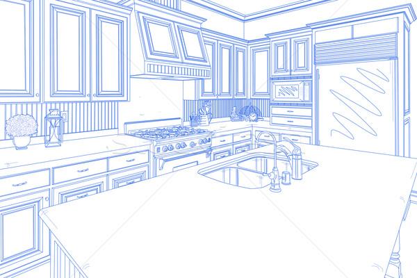 Stock fotó: Kék · vám · konyha · terv · rajz · fehér