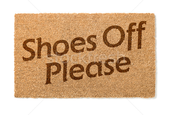 Shoes Off Welcome Mat On White Stock photo © feverpitch