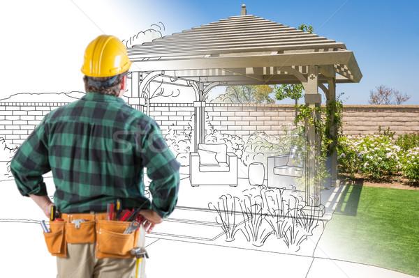 Stockfoto: Permanente · naar · patio · ontwerp · tekening
