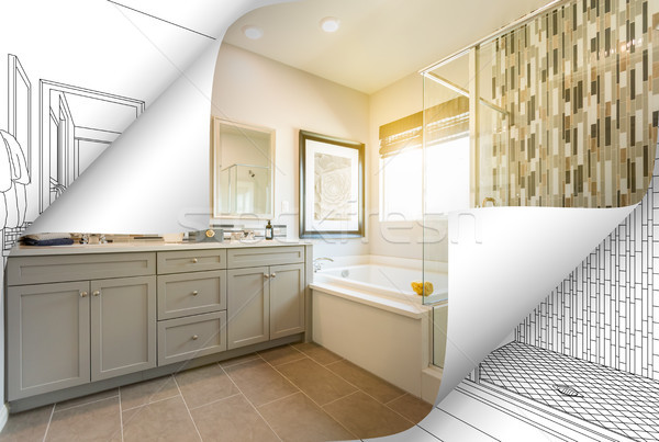 Master Bathroom Photo Page Corners Flipping with Drawing Behind Stock photo © feverpitch