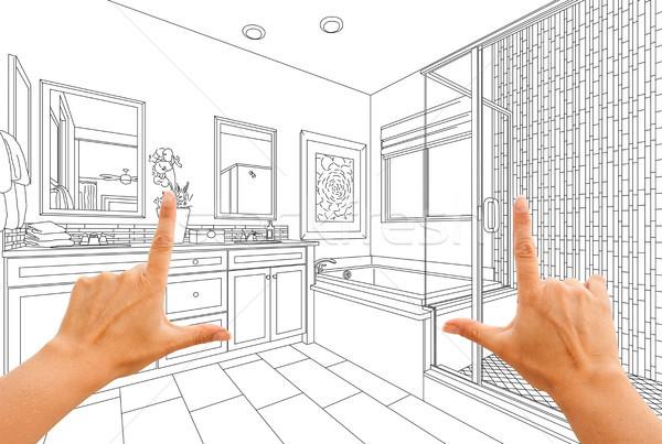 Mãos mestre banheiro desenho casa Foto stock © feverpitch