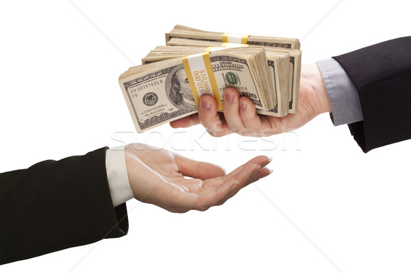Handing Over Cash to Other Hand on White Stock photo © feverpitch