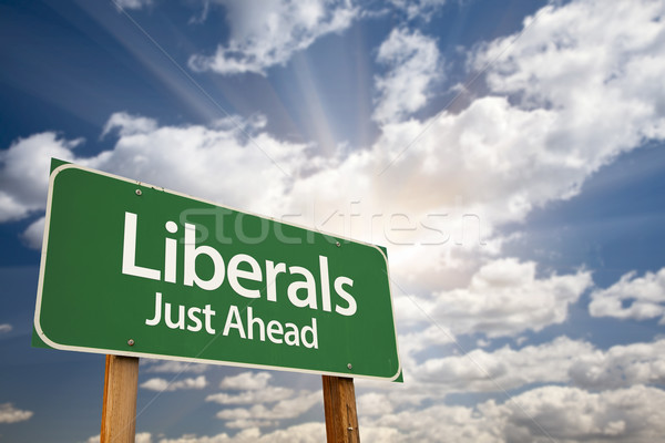 Liberals Green Road Sign and Clouds Stock photo © feverpitch