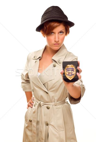 женщины детектив официальный Знак окоп пальто Сток-фото © feverpitch