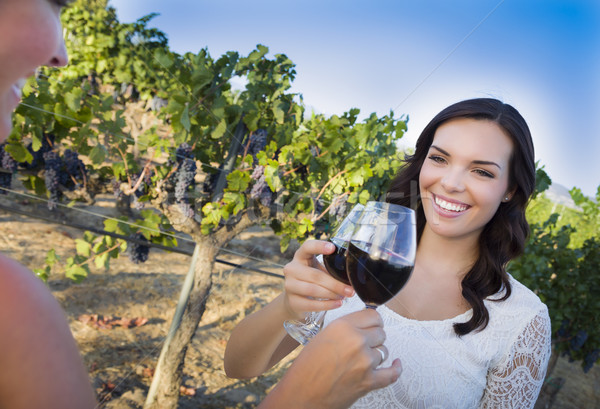 Stock photo: Young Woman Enjoying Glass of Wine in Vineyard With Friends