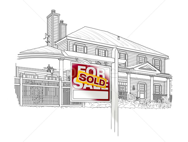 Custom House and Sold Real Estate Sign Drawing on White Stock photo © feverpitch