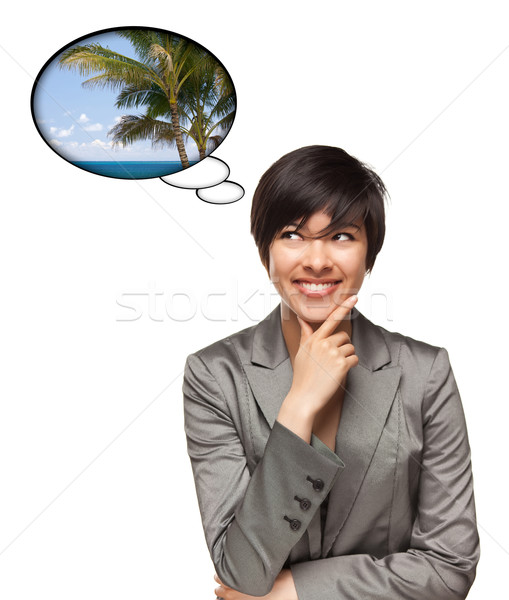 Beautiful Multiethnic Woman with Thought Bubbles of Tropical Pla Stock photo © feverpitch