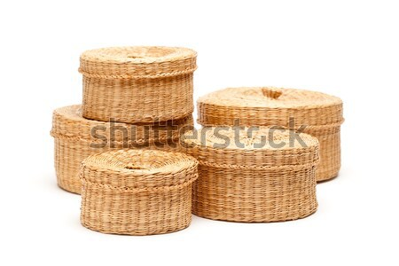 Stack of Wicker Baskets on White Stock photo © feverpitch